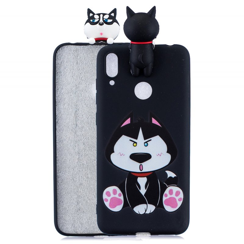For Huawei Y6 2019 3D Cartoon Lovely Coloured Painted Soft TPU Back Cover Non-slip Shockproof Full Protective Case cute husky