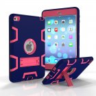 For IPAD MINI 4 PC+ Silicone Hit Color Armor Case Tri-proof Shockproof Dustproof Anti-fall Protective Cover  Navy + Rose red