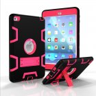 For IPAD MINI 4 PC+ Silicone Hit Color Armor Case Tri-proof Shockproof Dustproof Anti-fall Protective Cover  Black + rose red