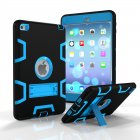 For IPAD MINI 4 PC+ Silicone Hit Color Armor Case Tri-proof Shockproof Dustproof Anti-fall Protective Cover  Black + blue