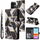 For Iphone 11 Mobile Phone Cover Inlay Gold Line Marble Pattern Flip Phone Leather Case black