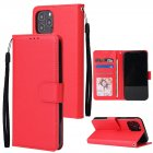 For Iphone 12 5.4 inch/6.1 inch/ 6.7 inch PU Leather Three-card Photo Frame Front Buckle Mobile Phone shell red