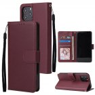 For Iphone 12 5 4 inch 6 1 inch  6 7 inch PU Leather Three card Photo Frame Front Buckle Mobile Phone shell Red wine