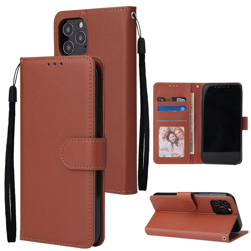 For Iphone 12 5.4 inch/6.1 inch/ 6.7 inch PU Leather Three-card Photo Frame Front Buckle Mobile Phone shell brown