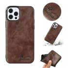 For Iphone  12 Mobile Phone Cover Pu Waxed Leather Solid Color Protective Case Dark brown