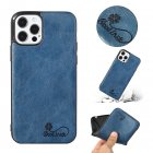 For Iphone  12 Mobile Phone Cover Pu Waxed Leather Solid Color Protective Case sapphire