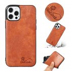 For Iphone  12 Mobile Phone Cover Pu Waxed Leather Solid Color Protective Case Light brown