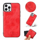 For Iphone  12 Mobile Phone Cover Pu Waxed Leather Solid Color Protective Case red