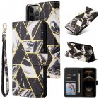 For Iphone 12 Mobile Phone Cover Matte Marble Pattern Multi-function  Flip Phone Leather Case black