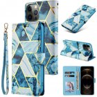 For Iphone 12 Mobile Phone Cover High Brightness Marble Pattern Splicing Multi-function Flip Phone Leather Case blue
