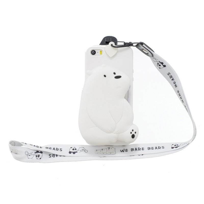 For Iphone 5 / 5S / SE Cartoon Hanging Lanyard + Fall Resistant Cartoon TPU Full Protective Mobile Phone Cover with Coin Purse 6 white big bear