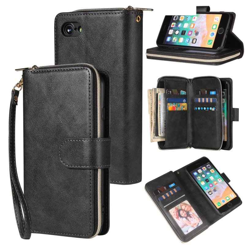 For Iphone 6/6s/6 Plus/6s Plus/7 Plus/8 Plus Pu Leather  Mobile Phone Cover Zipper Card Bag + Wrist Strap black