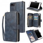 For Iphone 6/6s/6 Plus/6s Plus/7 Plus/8 Plus Pu Leather  Mobile Phone Cover Zipper Card Bag + Wrist Strap blue