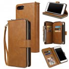 For Iphone 6/6s/6 Plus/6s Plus/7 Plus/8 Plus Pu Leather  Mobile Phone Cover Zipper Card Bag + Wrist Strap brown