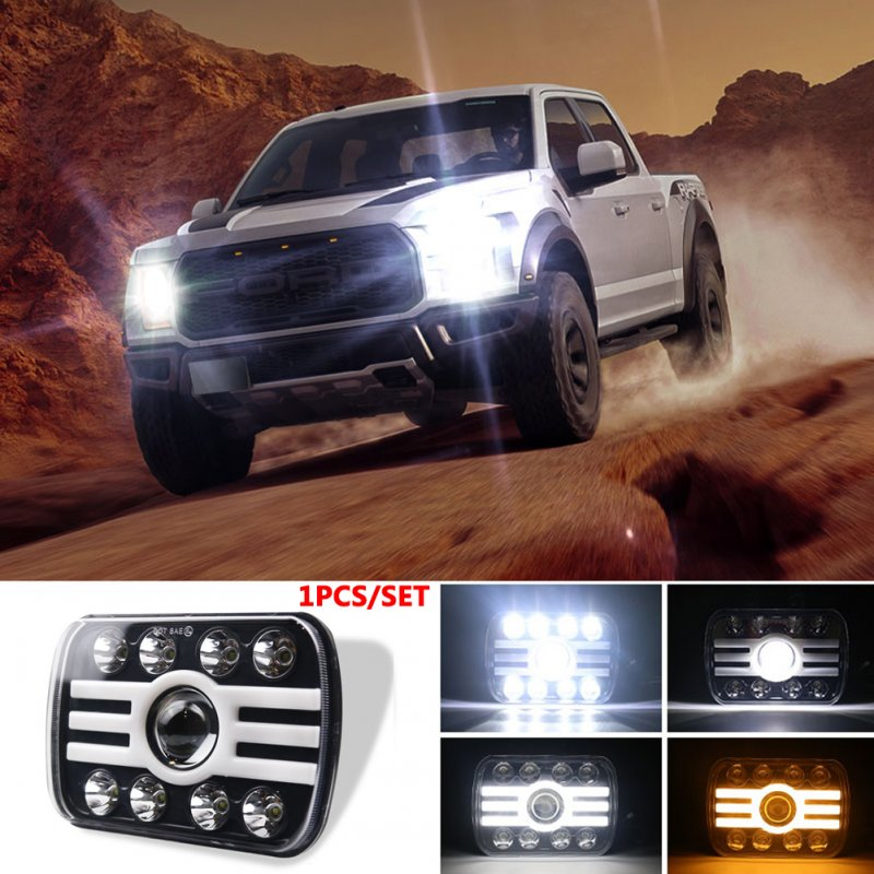 For Jeep Wrangler 500 W 30000LM 7 inch LED Headlights 5X7/7X6 Led Beam Headlamp Angel eye (8 beads with lens) H Shape Led Headlight