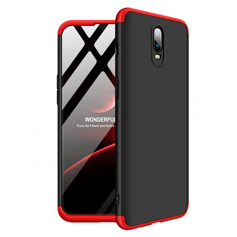 For ONE PLUS 6T 3 in 1 360 Degree Non-slip Shockproof Full Protective Case Red black red_ONE PLUS 6T
