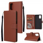 For OPPO A52/A72/A92 PU Leather Protective Phone Case with 3 Cards Slots Bracket brown