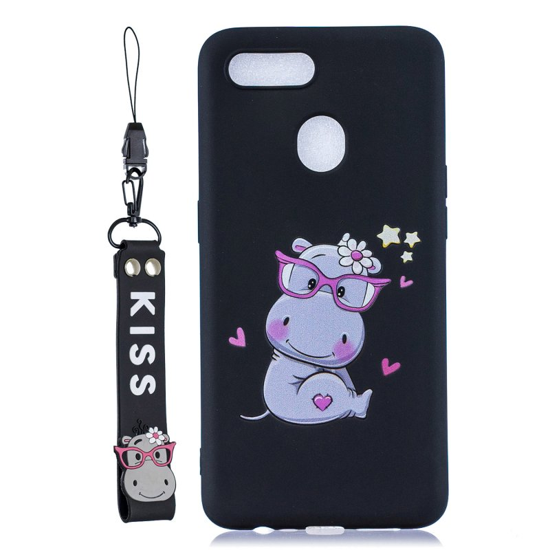 For OPPO A7 Cartoon Lovely Coloured Painted Soft TPU Back Cover Non-slip Shockproof Full Protective Case with Lanyard black