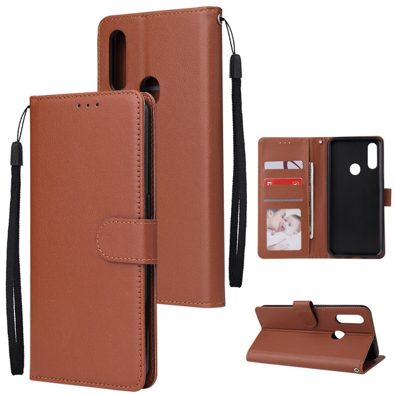 For OPPO A8 / A31/Realme XT / X2 Mobile Phone Case PU Buckle Closure Wallet Design Cards Slots All-round Protection Phone Cover  brown