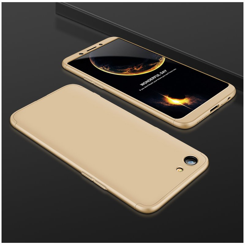 For OPPO A83/A1 Ultra Slim PC Back Cover Non-slip Shockproof 360 Degree Full Protective Case Gold