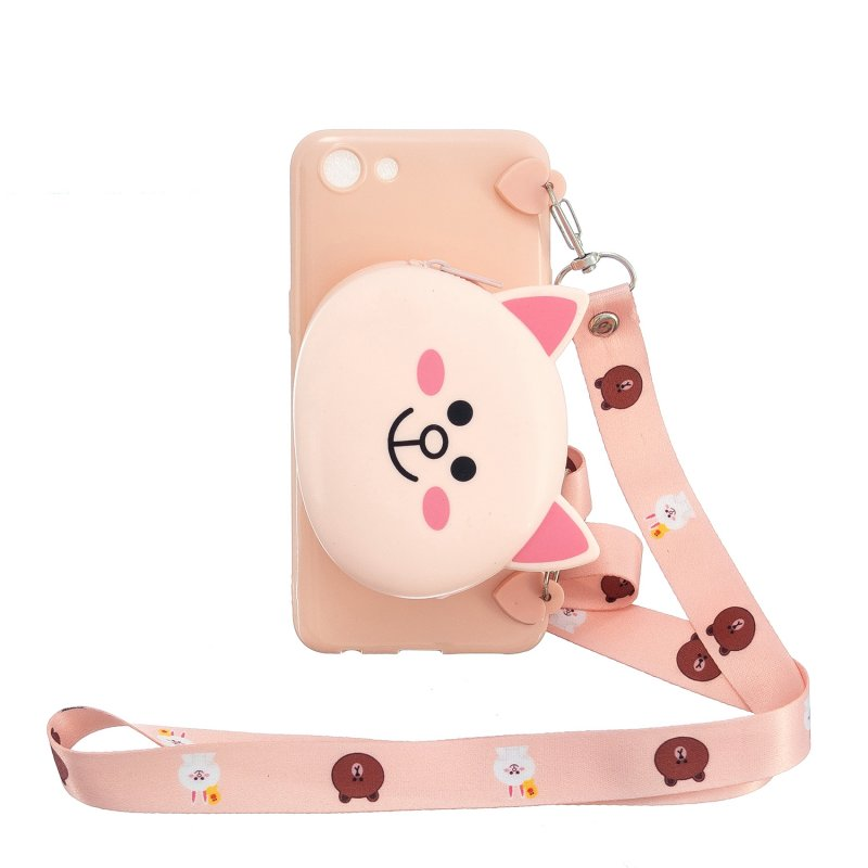 For OPPO A83/A9 2020 Cellphone Case Mobile Phone TPU Shell Shockproof Cover with Cartoon Cat Pig Panda Coin Purse Lovely Shoulder Starp  Pink
