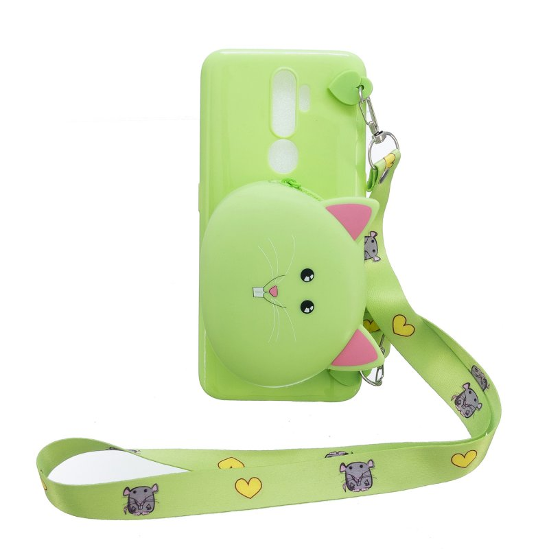 For OPPO A83/A9 2020 Cellphone Case Mobile Phone TPU Shell Shockproof Cover with Cartoon Cat Pig Panda Coin Purse Lovely Shoulder Starp  Green