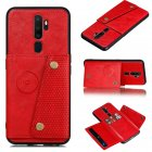 For OPPO A9 2020/Realme XT/Reno 2 Mobile Phone Shell Classic Textured Pattern Buckle Closure Design Anti-fall Smartphone Case  red