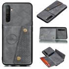 For OPPO A9 2020/Realme XT/Reno 2 Mobile Phone Shell Classic Textured Pattern Buckle Closure Design Anti-fall Smartphone Case  gray