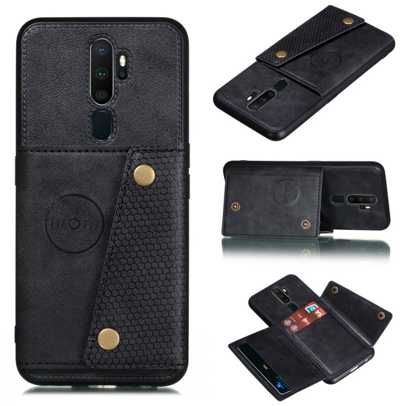 For OPPO A9 2020/Realme XT/Reno 2 Mobile Phone Shell Classic Textured Pattern Buckle Closure Design Anti-fall Smartphone Case  black