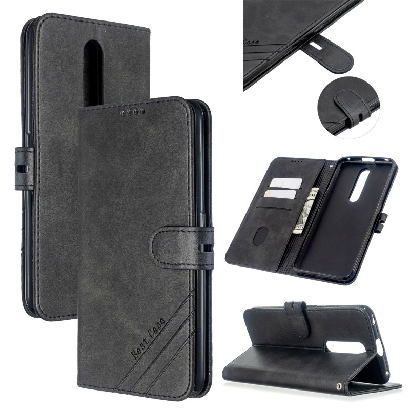 For OPPO F11/F11 Pro Case Soft Leather Cover with Denim Texture Precise Cutouts Wallet Design Buckle Closure Smartphone Shell  black