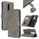 For OPPO F11/F11 Pro Case Soft Leather Cover with Denim Texture Precise Cutouts Wallet Design Buckle Closure Smartphone Shell  gray