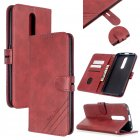 For OPPO F11/F11 Pro Case Soft Leather Cover with Denim Texture Precise Cutouts Wallet Design Buckle Closure Smartphone Shell  red
