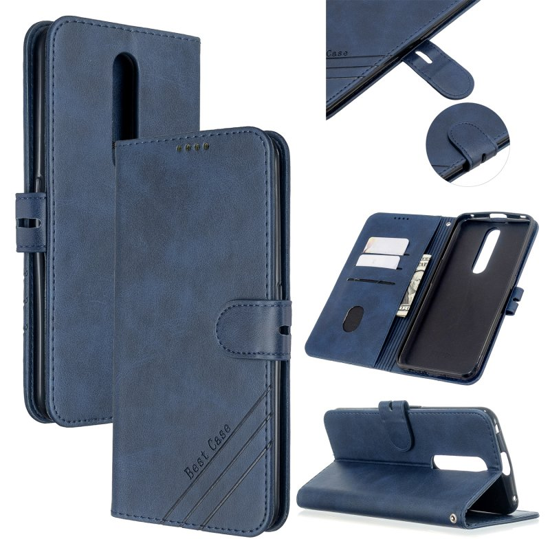 For OPPO F11/F11 Pro Case Soft Leather Cover with Denim Texture Precise Cutouts Wallet Design Buckle Closure Smartphone Shell  blue
