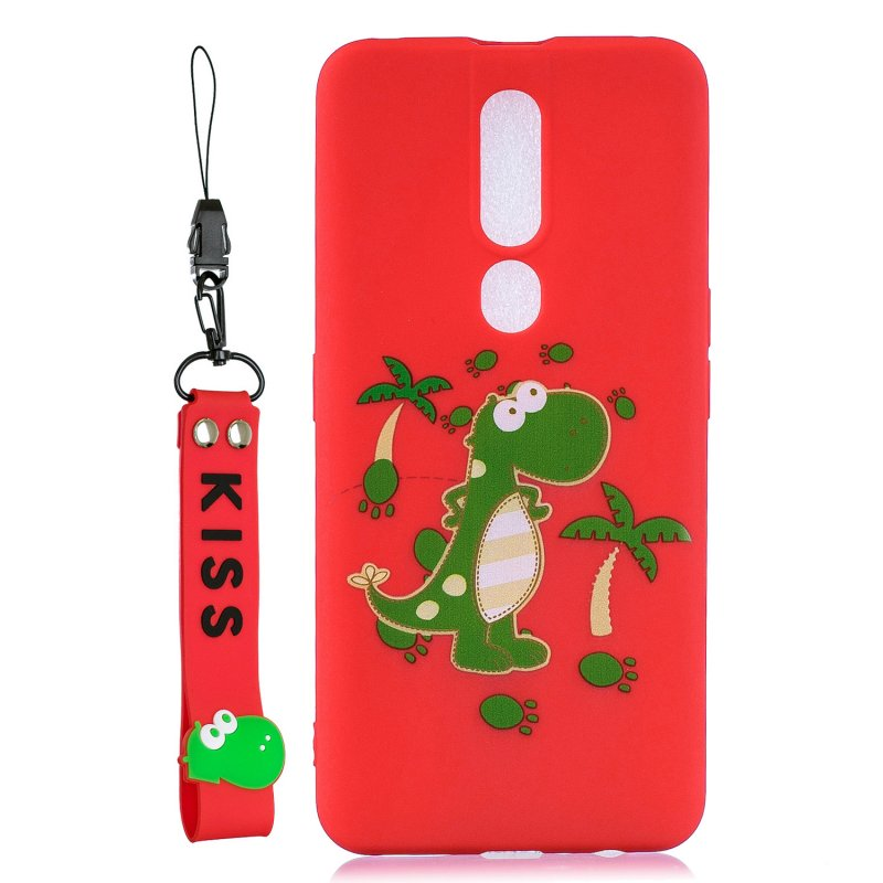 For OPPO F11 PRO Cartoon Lovely Coloured Painted Soft TPU Back Cover Non-slip Shockproof Full Protective Case with Lanyard red