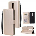 For OPPO F11 Wallet-type PU Leather Protective Phone Case with Buckle & 3 Card Position Gold