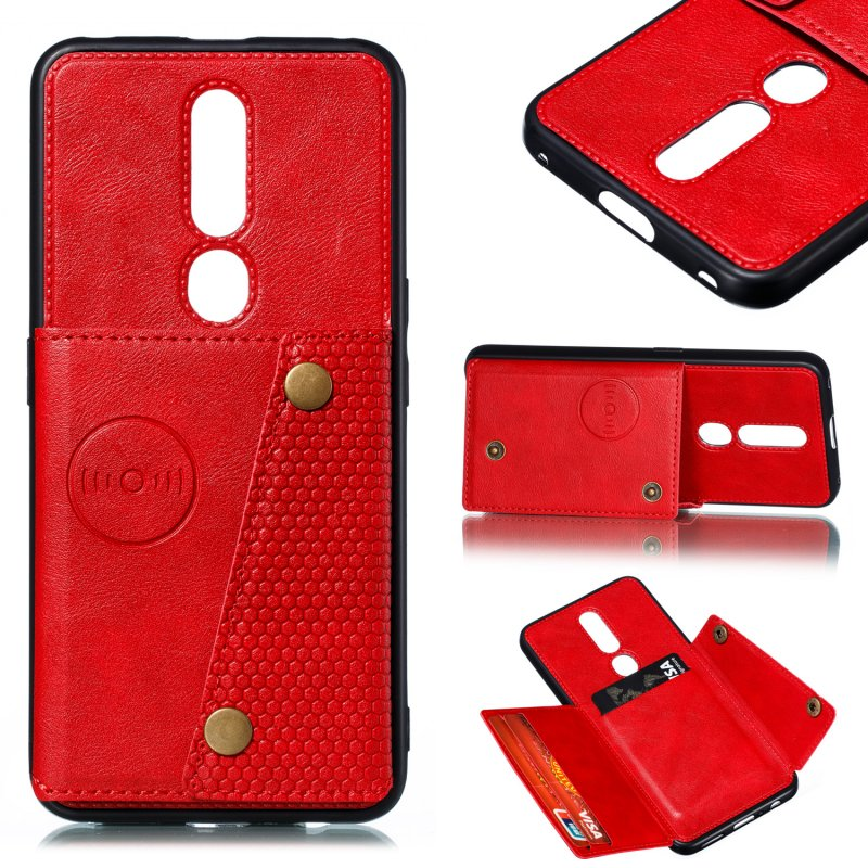 For OPPO F11 pro PU Leather Flip Stand Shockproof Cell Phone Cover Double Buckle Anti-dust Case With Card Slots Pocket red