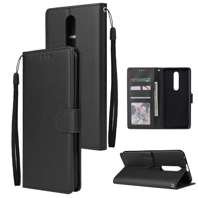 For OPPO F11 pro Wallet-type PU Leather Protective Phone Case with Buckle & 3 Card Position black