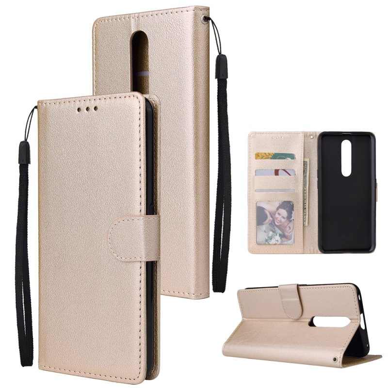 For OPPO F11 pro Wallet-type PU Leather Protective Phone Case with Buckle & 3 Card Position Gold