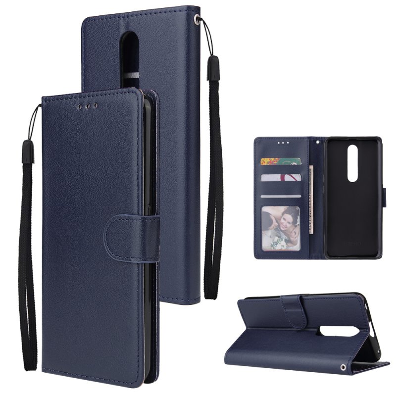 For OPPO F11 pro Wallet-type PU Leather Protective Phone Case with Buckle & 3 Card Position blue
