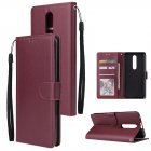For OPPO F11 pro Wallet-type PU Leather Protective Phone Case with Buckle & 3 Card Position Red wine