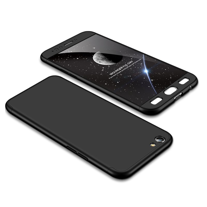 For OPPO F3/A77(International) Slim 3 in 1 Hybrid Hard Case Full Body 360 Degree Protection Back Cover black