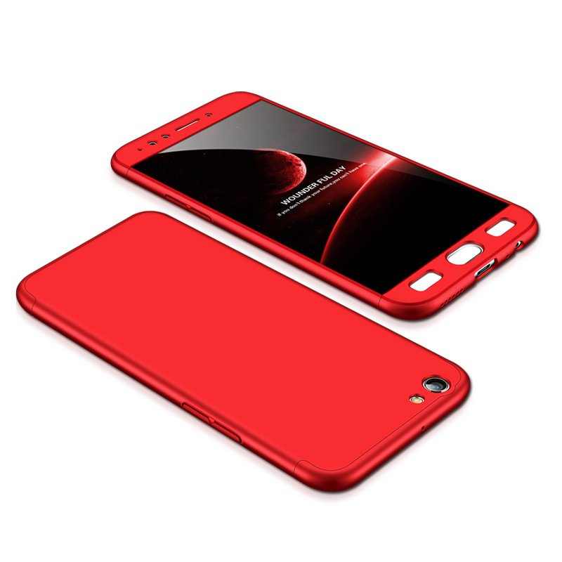 For OPPO F3/A77(International) Slim 3 in 1 Hybrid Hard Case Full Body 360 Degree Protection Back Cover red