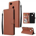 For OPPO F7 Wallet type PU Leather Protective Phone Case with Buckle   3 Card Position brown
