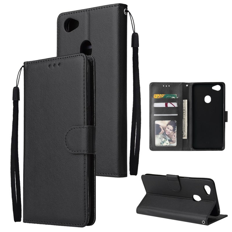 For OPPO F7 Wallet-type PU Leather Protective Phone Case with Buckle & 3 Card Position black