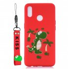 For OPPO Realme 3 Cartoon Lovely Coloured Painted Soft TPU Back Cover Non-slip Shockproof Full Protective Case with Lanyard red