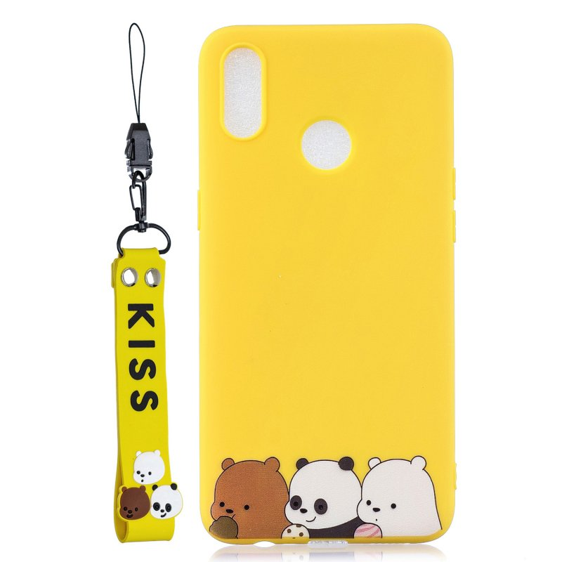 For OPPO Realme 3 Cartoon Lovely Coloured Painted Soft TPU Back Cover Non-slip Shockproof Full Protective Case with Lanyard yellow