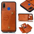For OPPO Realme 3 PU Leather Flip Stand Shockproof Cell Phone Cover Double Buckle Anti-dust Case With Card Slots Pocket Light Brown