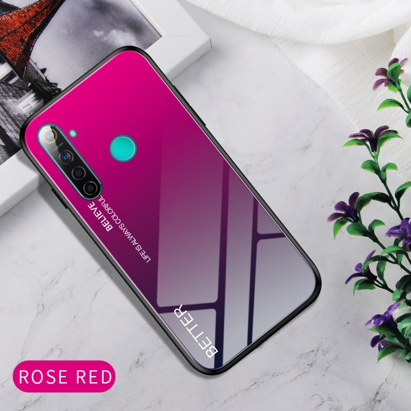 For OPPO Realme 3 Pro/Realme 5/Realme 5 Pro Mobile Shell Soft TPU Phone Case Glass Back Panel Gradient Design Overall Protective Shell Rose red