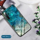 For OPPO Realme 3 Pro Realme 5 Realme 5 Pro Mobile Shell Soft TPU Phone Case Glass Back Panel Gradient Design Overall Protective Shell Emerald