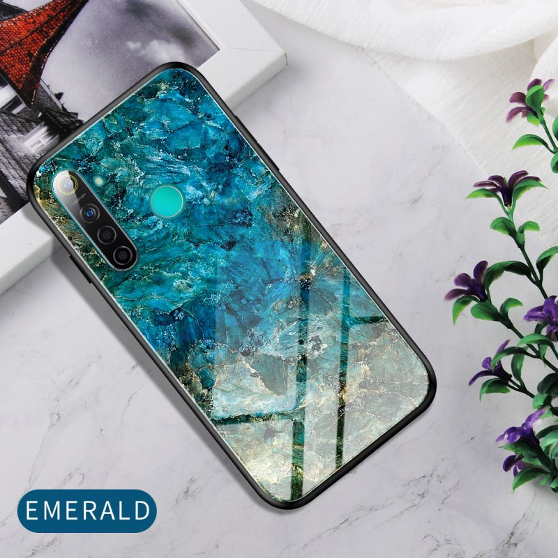 For OPPO Realme 3 Pro/Realme 5/Realme 5 Pro Mobile Shell Soft TPU Phone Case Glass Back Panel Gradient Design Overall Protective Shell Emerald